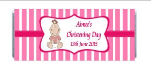 Girl Christening Chocolate Candy Bar Wrapper Design 2